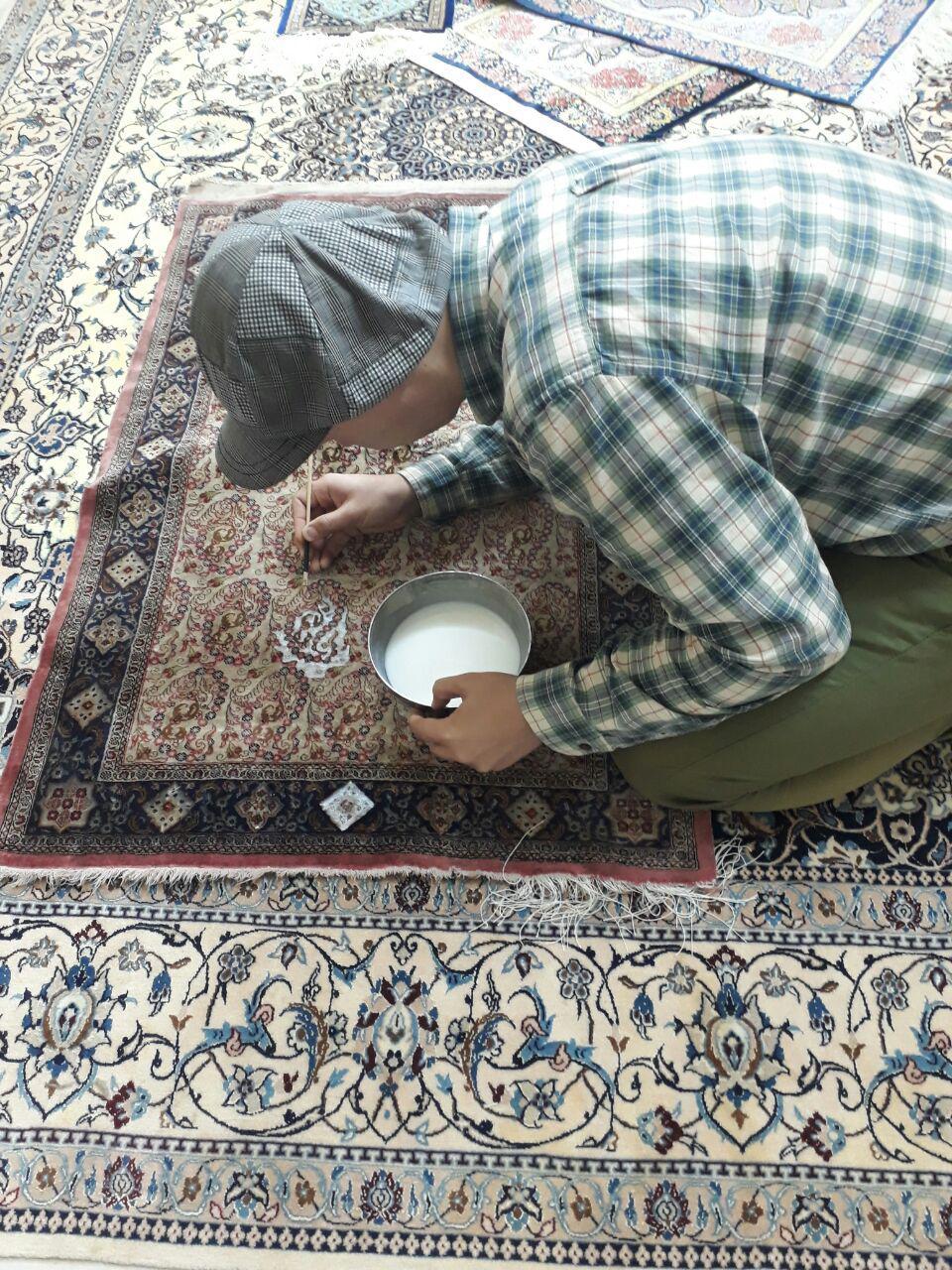 مراحل اصلاح رنگ دادگی فرش
