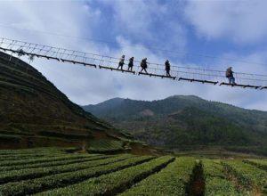 پل معلق از مکانهای عجیب چین